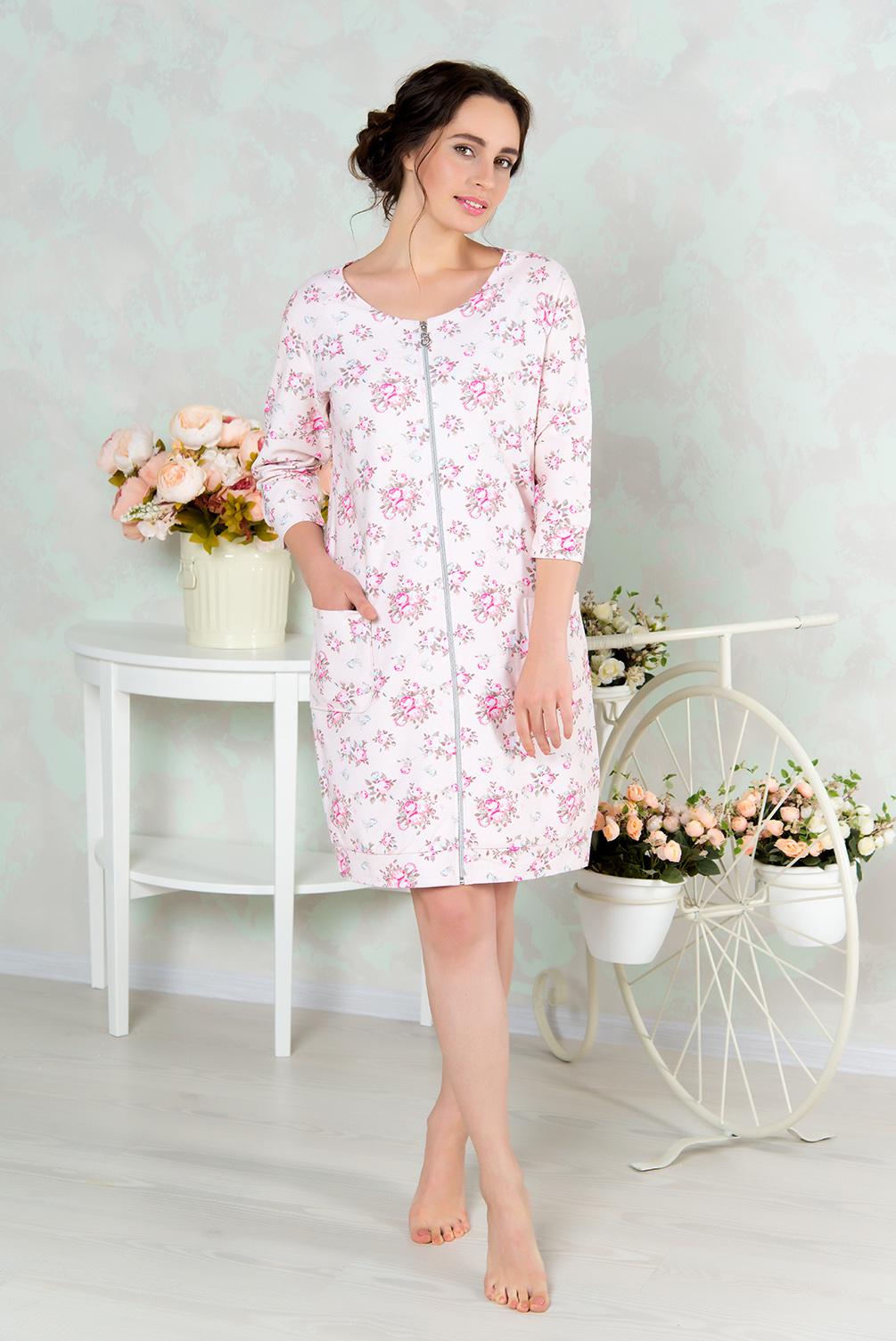 Халат женский Mia Cara, цвет: розовый. AW16-MCUZ-848. Размер 46/48AW16-MCUZ-848Женский халат Mia Cara изготовлен из высококачественного хлопка. Модель длины миди выполнена с застежкой-молнией. По бокам изделие дополнено двумя накладными карманами.