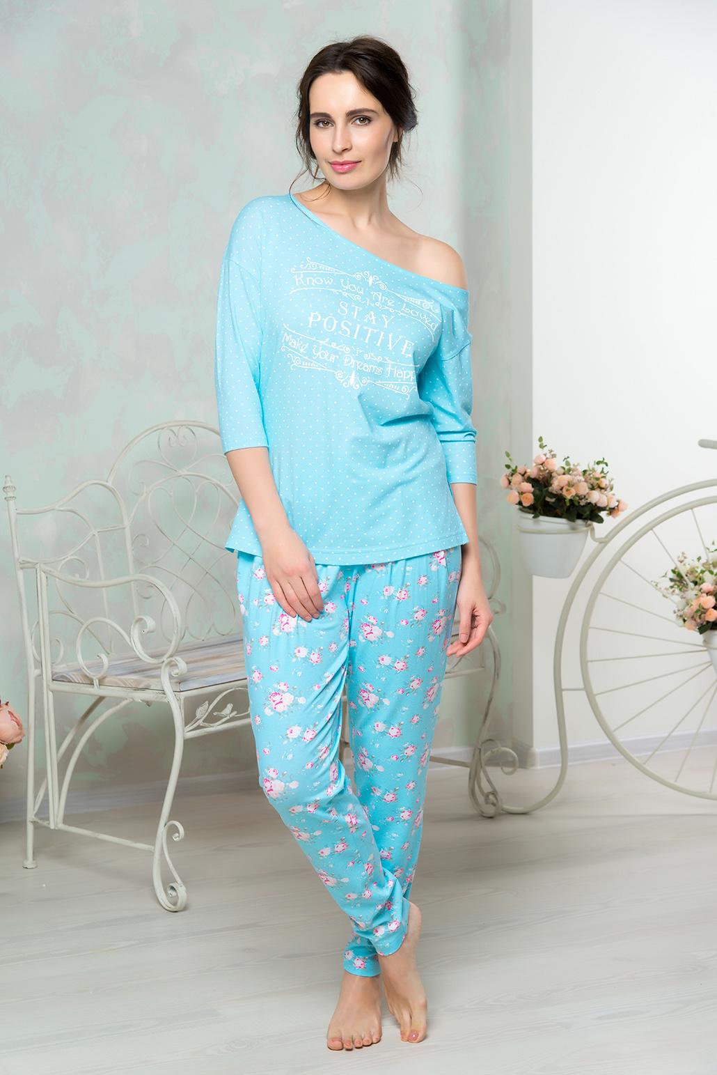 Комплект домашний женский Mia Cara: футболка, брюки, цвет: голубой. AW16-MCUZ-852. Размер 46/48AW16-MCUZ-852Комплект домашний одежды Mia Cara состоит из футболки с рукавами 3/4 и брюк. Модель выполнена из высококачественного хлопка с добавлением эластана. Футболка свободного кроя. Брюки слегка заужены к низу.