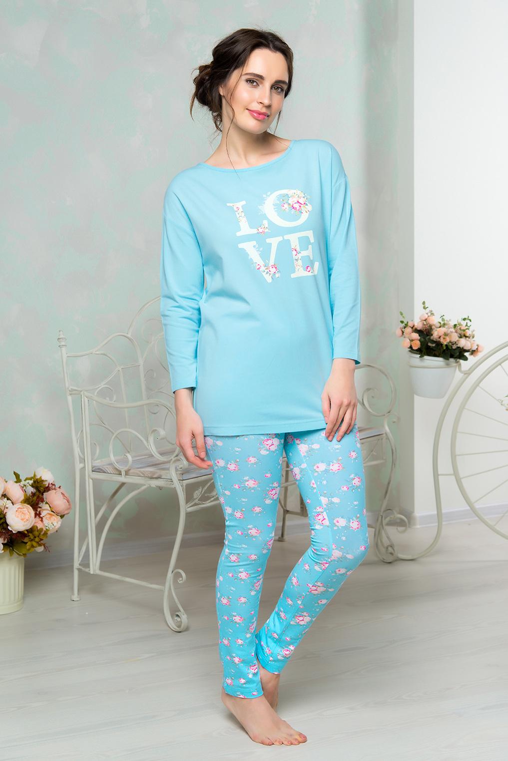 Комплект домашний женский Mia Cara: футболка, брюки, цвет: голубой. AW16-MCUZ-853. Размер 50/52AW16-MCUZ-853Комплект домашний одежды Mia Cara состоит из футболки с длинными рукавами и брюк. Модель выполнена из высококачественного хлопка с добавлением эластана. Футболка с круглой горловиной дополнена на спинке вырезом и завязками. Брюки оформлены цветочным принтом.
