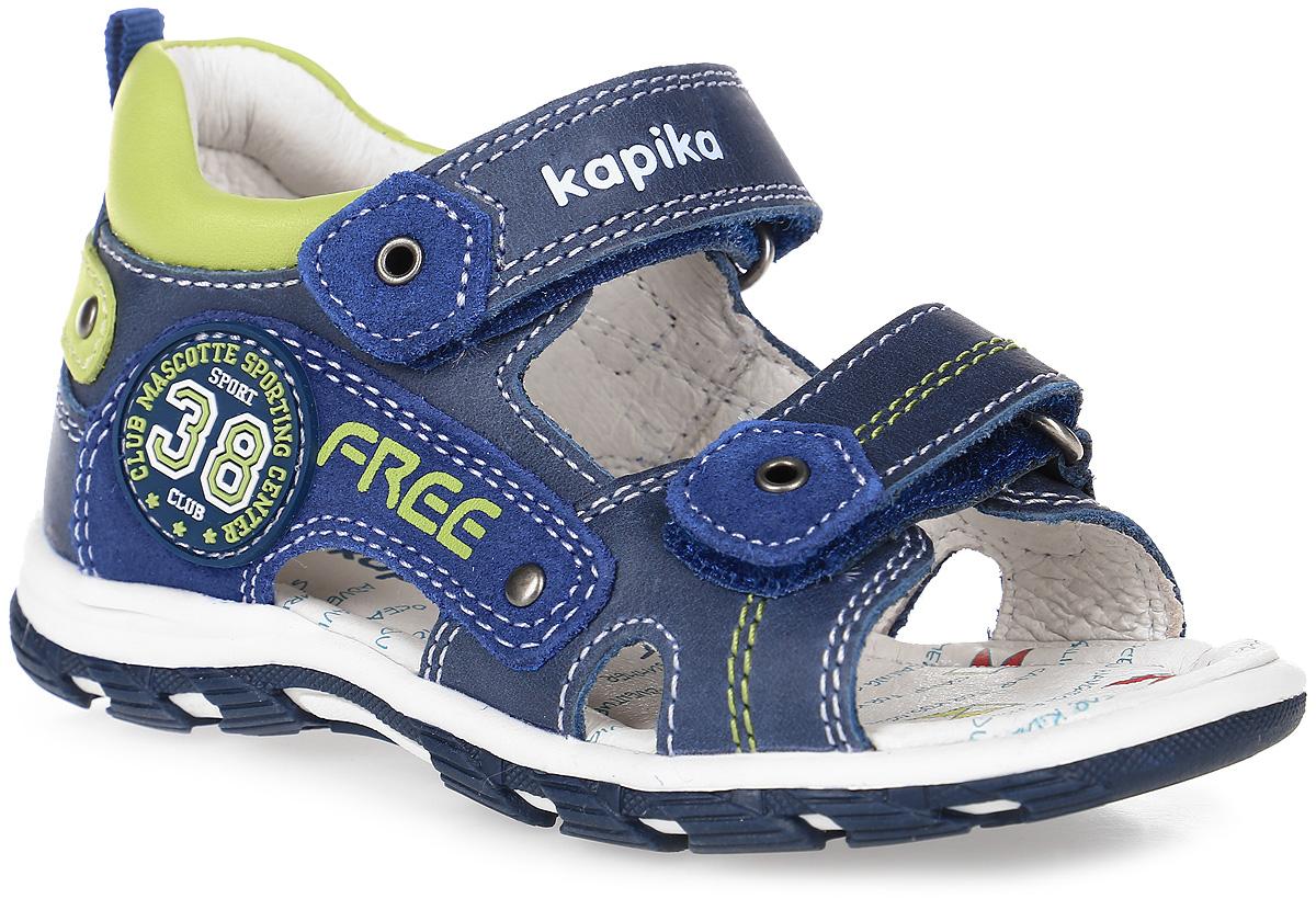 Сандалии для мальчика Kapika, цвет: темно-синий, салатовый. 32288-2. Размер 2332288-2Сандалии Kapika, выполненные из натуральной кожи, оформлены оригинальными нашивками и декоративной прострочкой. Ярлычок на заднике упростит надеванием модели. На ноге модель фиксируется с помощью двух хлястиков с застежками-липучками, один из которых оформлен тисненой надписью с названием бренда. Внутренняя поверхность и стелька выполнены из натуральной кожи. Стелька дополнена супинатором с перфорацией, который обеспечивает правильное положение ноги ребенка при ходьбе, предотвращает плоскостопие. Подошва изготовлена из прочного и гибкого ТЭП-материала. Поверхность подошвы дополнена рельефным рисунком.