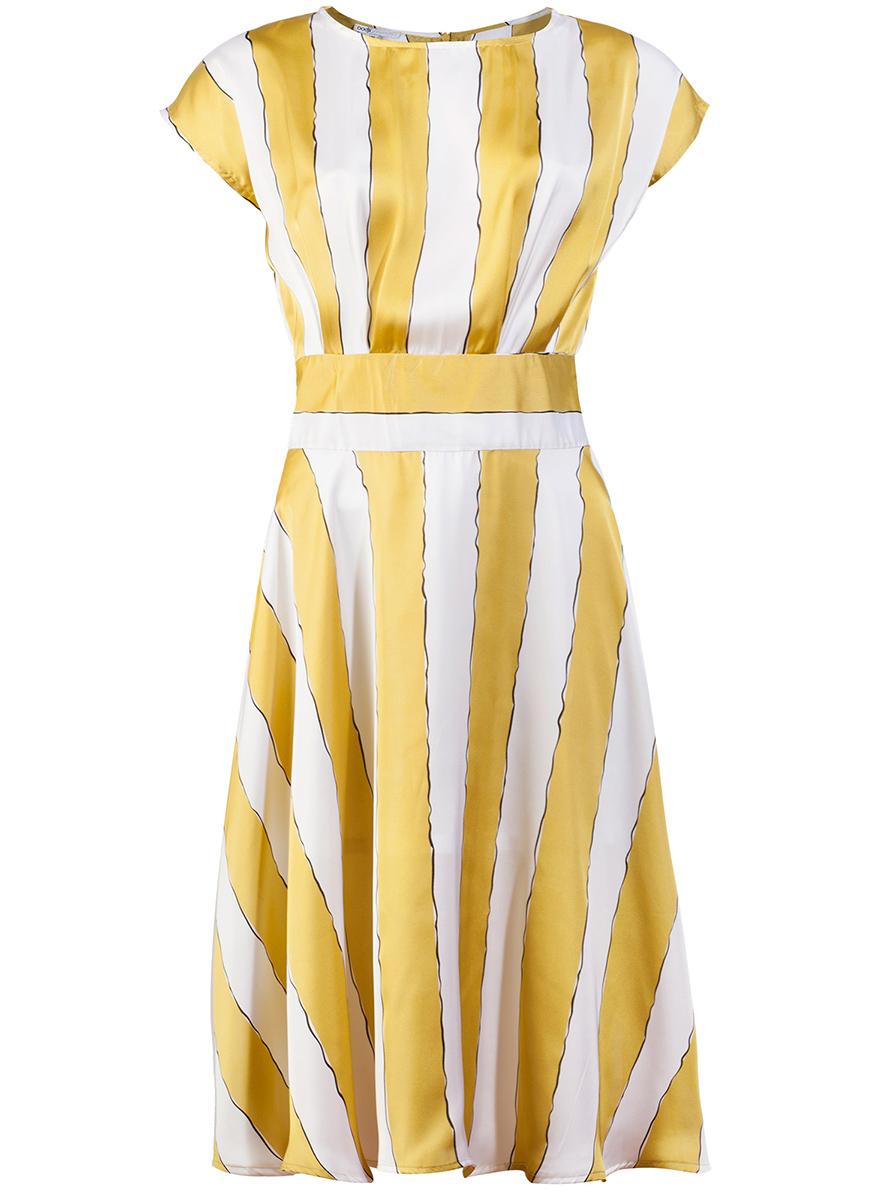 Платье oodji Collection, цвет: белый, оливковый. 21900112M/15014/106BS. Размер 38-170 (44-170)21900112M/15014/106BSСтильное платье oodji Collection с пышной расклешенной юбкой, выгодно подчеркивающее достоинства фигуры, выполнено из легкого материала. Модель средней длины с короткими рукавами застегивается на скрытую застежку-молнию по спинке. Изделие оформлено принтом в крупную полоску.