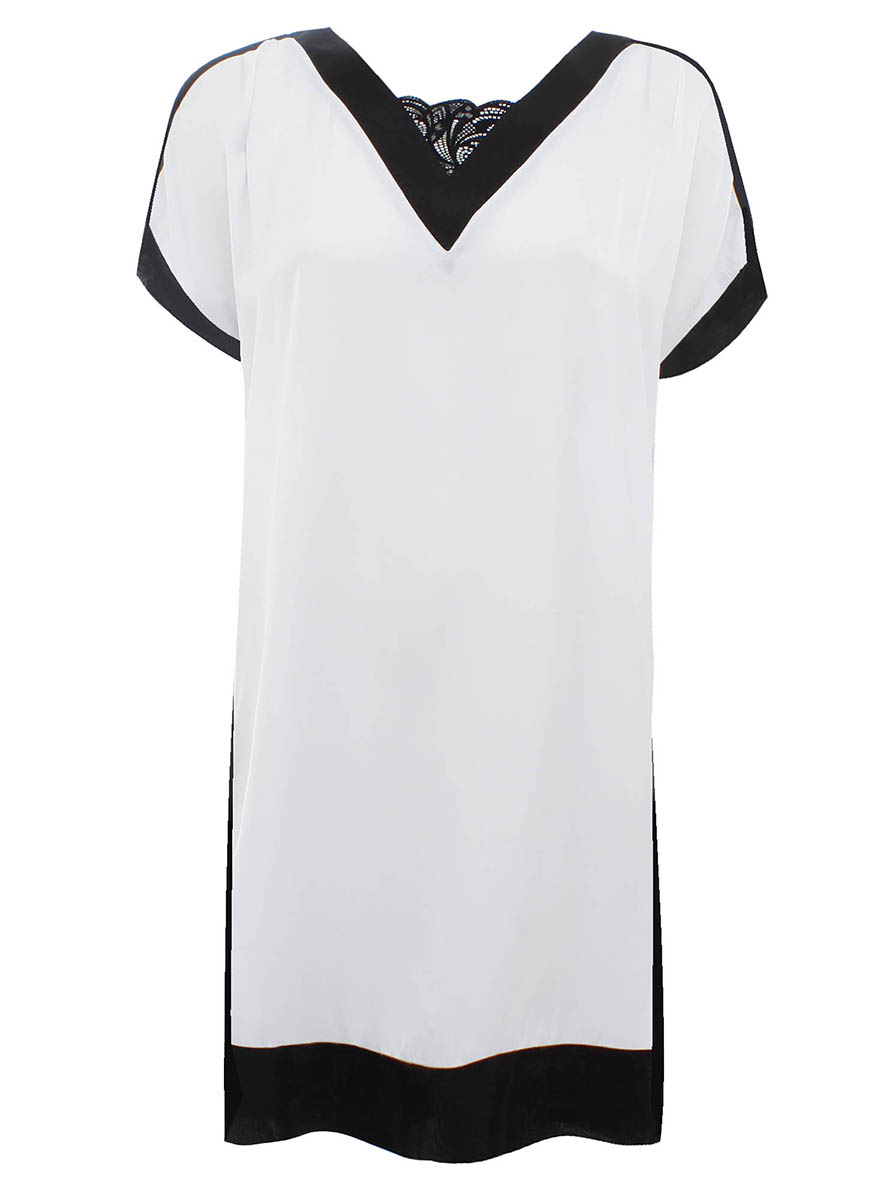 Платье oodji Collection, цвет: белый, черный. 21900114M/15014/1029B. Размер 40-170 (46-170)21900114M/15014/1029BОригинальное платье прямого кроя oodji Collection выполнено из легкого качественного материала. Модель средней длины с короткими рукавами имеет V-образный вырез горловины, оформленный кружевной вставкой.