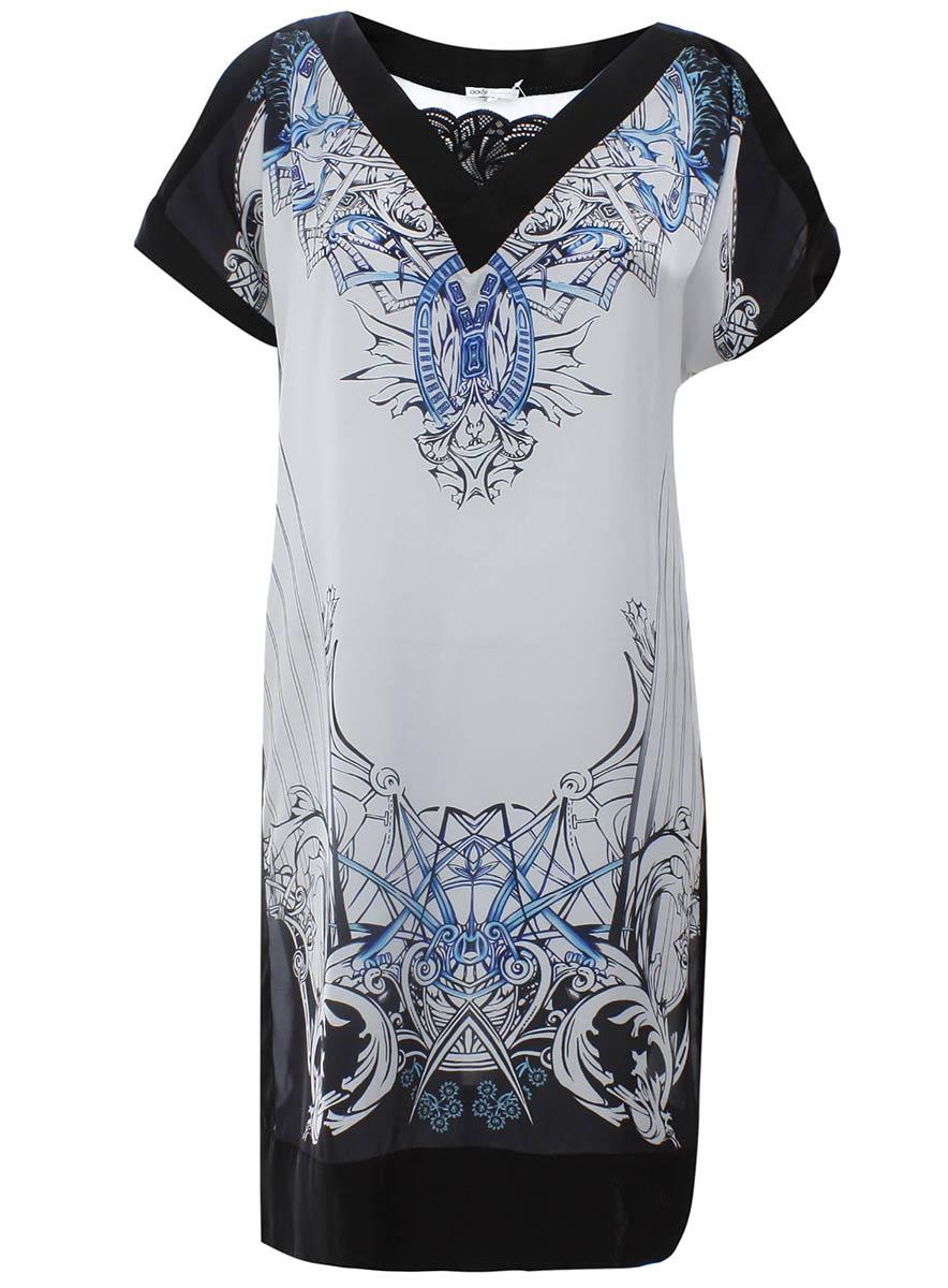Платье oodji Collection, цвет: черный, белый. 21900114M/15014/2910O. Размер 36-164 (42-164)21900114M/15014/2910OОригинальное платье прямого кроя oodji Collection выполнено из легкого качественного материала. Модель средней длины с короткими рукавами имеет V-образный вырез горловины, оформленный кружевной вставкой.