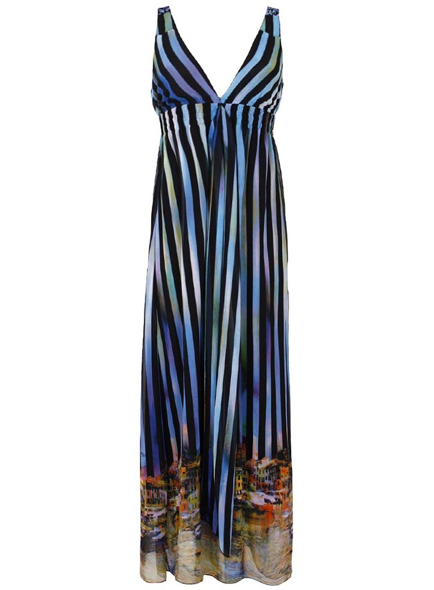 Сарафан oodji Collection, цвет: белый, черный, коричневый. 21903015/19621/2919S. Размер 36-170 (42-170)21903015/19621/2919SЯркий сарафан oodji Collection - отличный вариант для жарких летних будней. Сарафан выполнен из легкого воздушного материала и оформлен оригинальным принтом. Модель макси-длины на широких бретелях дополнена вшитым поясом с резинкой для лучшей посадки по фигуре.