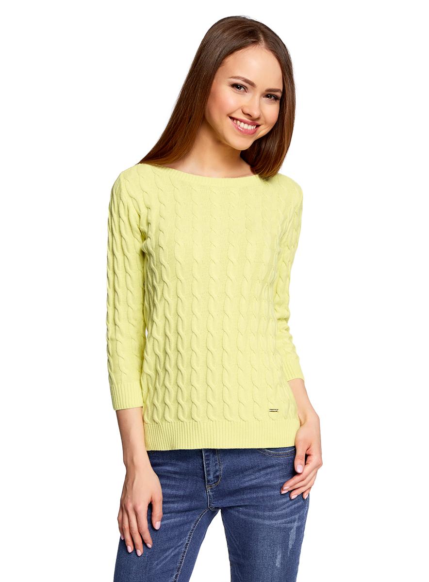 Джемпер женский oodji Ultra, цвет: светло-желтый. 63810234/45219/5000N. Размер S (44)63810234/45219/5000NУютный женский джемпер с вырезом горловины лодочка и рукавами 3/4 выполнен из хлопковой пряжи вязкой косичка.