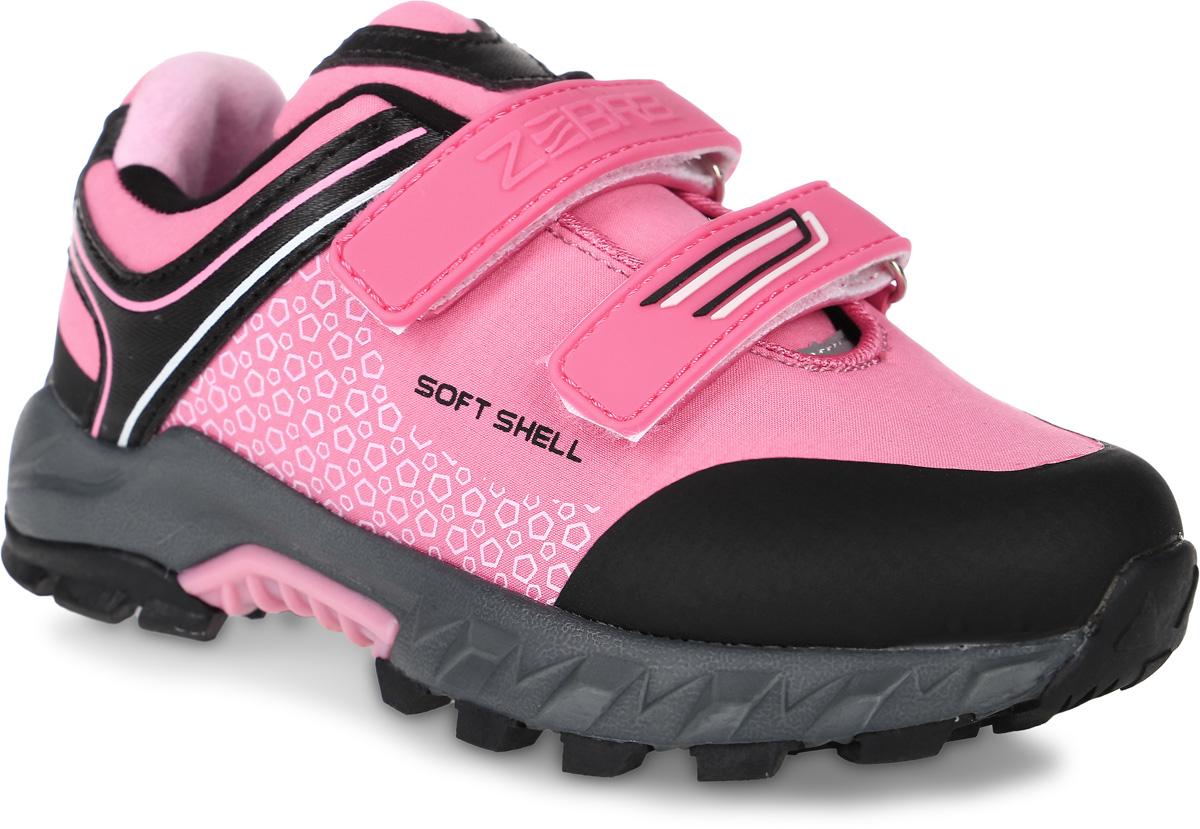 Кроссовки для девочки Зебра, цвет: розовый, черный. 10959-9. Размер 3110959-9Кроссовки Зебра, выполненные из текстиля, оформлены оригинальным принтом. На ноге модель фиксируется с помощью двух ремешков с застежками-липучками, один из которых оформлен надписью с названием бренда. Технология Softshell обеспечивает ветро- и влагоустойчивость. Внутренняя поверхность выполнена из мягкого текстиля, комфортного при движении. Стелька выполнена из легкого ЭВА-материала с поверхностью из натуральной кожи и дополнена супинатором с перфорацией, который обеспечивает правильное положение ноги ребенка при ходьбе, предотвращает плоскостопие. Анатомическая стелька способствует правильному формированию скелета и анатомических сводов детской стопы, снижает общую усталость ног, уменьшает нагрузку на позвоночник, делает ходьбу ребенка легкой, приятной и комфортной. Подошва изготовлена из легкого и пластичного ЭВА-материала. Поверхность подошвы дополнена протектором.