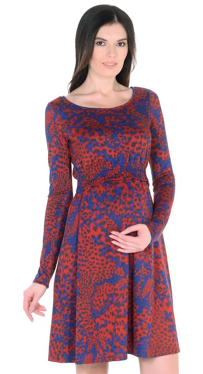 Платье для беременных Mammy Size, цвет: красный, синий. 6633522177. Размер 486633522177Платье для беременных Mammy Size выполнено из полиэстера, вискозы и эластана. Модель с круглым вырезом горловины и длинными рукавами.