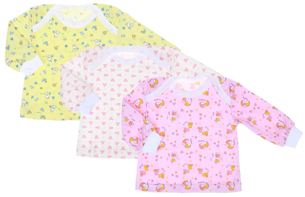 Футболка с длинным рукавом для девочки Фреш Стайл, цвет: желтый, белый, розовый, 3 шт. 33-236д. Размер 6833-236дФутболка с длинным рукавом для девочки Фреш Стайл выполнена из натурального хлопка. Футболка с круглым вырезом горловины и длинными рукавами оформлена ярким принтом. В комплекте три штуки.