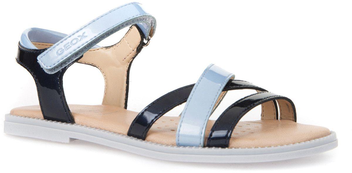 Босоножки для девочки Geox, цвет: темно-синий, голубой. J5235D000HICF44Y. Размер 26J5235D000HICF44YБосоножки Geoxдля девочки выполнены из контрастного полиуретана. Ремешок с липучкой, декорированный названием бренда, надежно зафиксирует модель на ножке. Подошва с рифлением гарантирует оптимальное сцепление с поверхностью. Модные босоножки станут прекрасным завершением летнего образа вашей девочки.