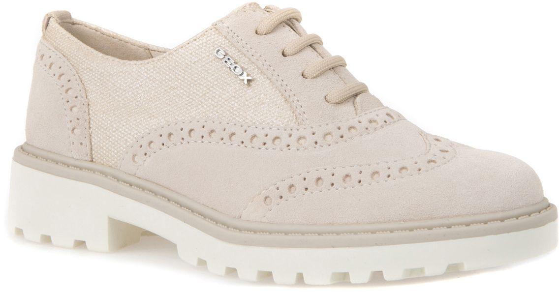 Полуботинки для девочки Geox, цвет: светло-бежевый. J6420F02211C5014. Размер 31J6420F02211C5014Модные полуботинки Geox покорят вас своим удобством.Модель выполнена из высококачественной натуральной кожи и текстиля. Шнуровка надежно фиксирует модель на ноге. Стильные полуботинки прекрасно впишутся в ваш гардероб.