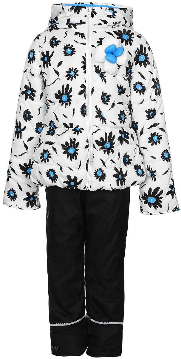 Комплект для девочки Boom!: куртка, брюки, цвет: белый, черный. 70021_BOG_вар.2. Размер 116, 5-6 лет70021_BOG_вар.2Комплект для девочки Boom! включает в себя куртку и брюки. Куртка с длинными рукавами и несъемным капюшоном выполнена из прочного полиэстера и имеет подкладку из полиэстера с добавлением хлопка. Наполнитель - эко-синтепон (150 г/м2). Модель застегивается на застежку-молнию спереди, имеет два втачных кармана спереди. Куртка украшена крупным декоративным цветком на груди и оформлена ярким цветочным принтом.Теплые брюки выполнены из полиэстера и имеют подкладку из мягкого флисового материала. Объем талии регулируется при помощи внутренней резинки с пуговицами. Брюки дополнены двумя втачными карманами спереди.Комплект дополнен светоотражающими элементами.