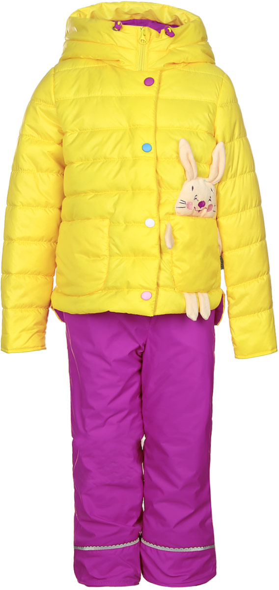 Комплект для девочки Boom!: куртка, брюки, цвет: желтый, розовый. 70022_BOG_вар.1. Размер 80, 1,5-2 года70022_BOG_вар.1Комплект для девочки Boom! включает в себя куртку и брюки. Куртка с длинными рукавами и несъемным капюшоном выполнена из прочного полиэстера и имеет подкладку из полиэстера с добавлением хлопка. Наполнитель - эко-синтепон (150 г/м2). Модель застегивается на застежку-молнию спереди и имеет ветрозащитный клапан на липучках. Изделие имеет два накладных кармана спереди, один из которых выполнен в виде зайчика с объемной мордочкой и лапками. Удлиненный капюшон украшен небольшим помпоном и дополнен шнурком-кулиской со стопперами.Теплые брюки выполнены из полиэстера и имеют подкладку из мягкого флисового материала. Объем талии регулируется при помощи внутренней резинки с пуговицами. Брюки дополнены двумя втачными карманами спереди.Комплект дополнен светоотражающими элементами.