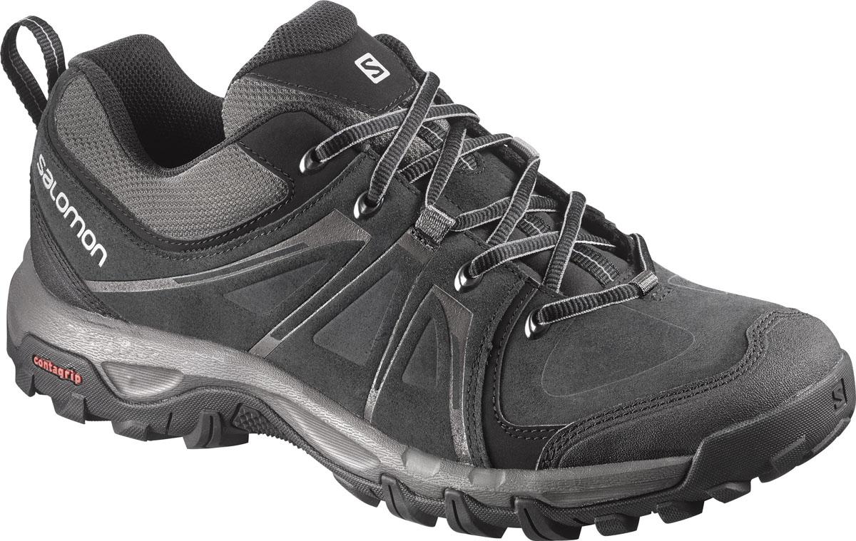 Кроссовки трекинговые мужские Salomon Evasion Ltr, цвет: черный. L37689500. Размер 8,5 (41)L37689500Трекинговые мужские кроссовки Evasion Ltr с верхом из замшевых вставок дополнены защитной синтетическойнакладкой на носке. Подкладка и стелька изготовлены из текстиля. Модель с защитой от грязи и защитной накладкой на заднике. Не оставляющая следов резины подошва Contagrip, промежуточная подошва изготовлена из пластика и ЭВА. В этих ботинках вы готовы к любым приключениям в горах и сельской местности.