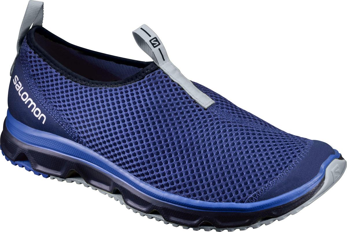 Кроссовки мужские Salomon Rx Moc 3.0, цвет: синий. L39244100. Размер 7,5 (40)L39244100Кроссовки Salomon RX MOC 3.0, сочетающие отличную амортизацию и воздухопроницаемость, помогут ногам расслабиться после долгих и утомительных тренировок. Также могут использоваться в качестве повседневной обуви. Модель выполнена из комбинации вентиляционного текстиля с сетчатым верхним слоем и синтетического материала. По канту обувь дополнена текстильной нашивкой для лучшего облегания ноги. Текстильная подкладка и стелька из ЭВА материала с кожаным верхним покрытием обеспечат дополнительный комфорт и предотвратят натирание. Задняя часть обуви оформлена фирменным принтом, ярлычок на подъеме - символикой бренда. Ярлычки предназначены для более удобного надевания обуви. Промежуточная подошва EVA отлично амортизирует. Подошва Contagrip не оставляет следов и обеспечивает отличное сцепление со скользкой поверхностью.