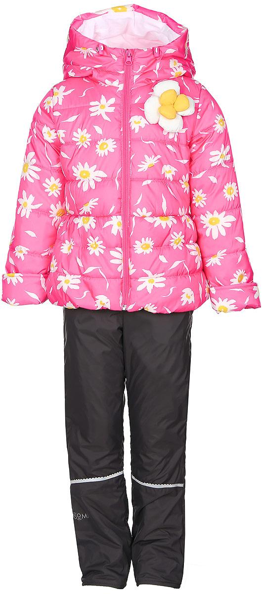 Комплект для девочки Boom!: куртка, брюки, цвет: розовый, темно-серый. 70021_BOG_вар.3. Размер 104, 3-4 года70021_BOG_вар.3Комплект для девочки Boom! включает в себя куртку и брюки. Куртка с длинными рукавами и несъемным капюшоном выполнена из прочного полиэстера и имеет подкладку из полиэстера с добавлением хлопка. Наполнитель - эко-синтепон (150 г/м2). Модель застегивается на застежку-молнию спереди, имеет два втачных кармана спереди. Куртка украшена крупным декоративным цветком на груди и оформлена ярким цветочным принтом.Теплые брюки выполнены из полиэстера и имеют подкладку из мягкого флисового материала. Объем талии регулируется при помощи внутренней резинки с пуговицами. Брюки дополнены двумя втачными карманами спереди.Комплект дополнен светоотражающими элементами.