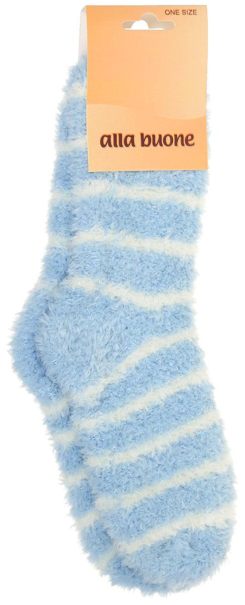 Носки женские Alla Buone, цвет: голубой, белый. CD022. Размер универсальный022CDУдобные носки Alla Buone, изготовленные из высококачественного комбинированного материала, очень мягкие и приятные на ощупь, позволяют коже дышать. Эластичная резинка плотно облегает ногу, не сдавливая ее, обеспечивая комфорт и удобство. Носки очень мягкие и теплые в полоску с паголенком классической длины.