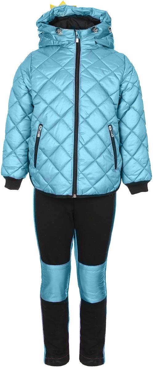 Комплект для девочки Boom!: куртка, брюки, цвет: светло-бирюзовый, черный. 70003_BOG_вар.3. Размер 104, 3-4 года70003_BOG_вар.3Комплект для девочки Boom! включает в себя куртку и брюки. Куртка с длинными рукавами и несъемным капюшоном выполнена из прочного полиэстера и имеет подкладку из полиэстера с добавлением вискозы. Капюшон регулируется при помощи эластичного шнурка со стопперами и дополнен нашивкой в виде короны. Модель застегивается на застежку-молнию спереди. Изделие имеет два прорезных кармана спереди на застежке-молнии. Понизу куртка регулируется при помощи эластичного шнурка со стопперами. Сзади модель украшена принтовыми надписями. Теплые брюки выполнены из полиэстера. На талии изделие дополнено широкой эластичной резинкой. Комплект дополнен светоотражающими элементами.