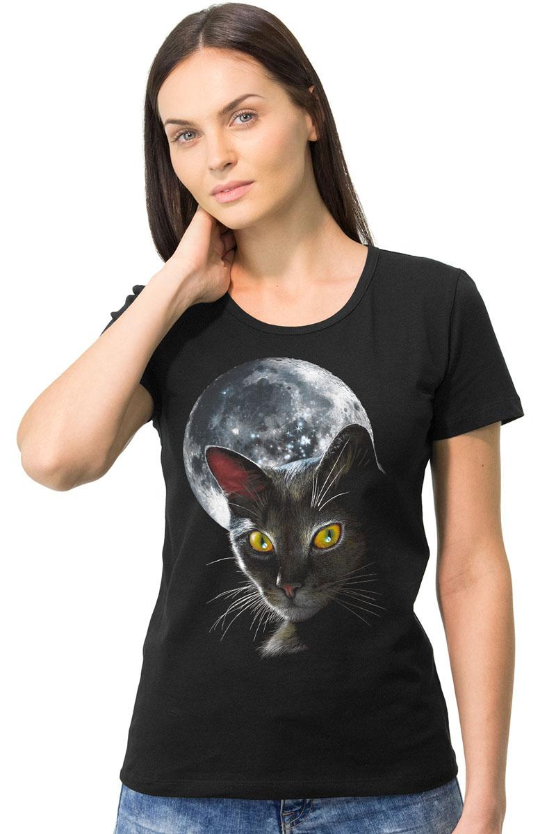 Футболка женская MF Кошка с луной, цвет: черный. 1-23. Размер S (44)1-23Стильная женская футболка MF Кошка с луной выполнена из натурального хлопка. Модель с круглым вырезом горловины и короткими рукавами оформлена оригинальным принтом. Воротник дополнен мягкой эластичной бейкой. Универсальный цвет позволяет сочетать модель с любой одеждой.