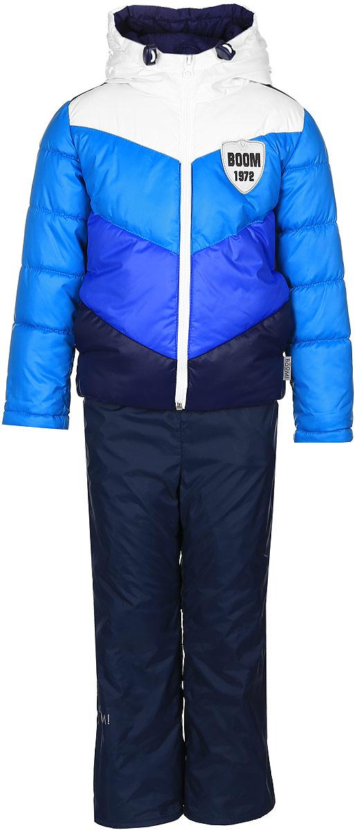 Комплект для мальчика Boom!: куртка, брюки, цвет: темно-синий. 70032_BOB_вар.2. Размер 92, 1,5-2 года70032_BOB_вар.2Комплект для мальчика Boom! включает в себя куртку и брюки. Куртка с длинными рукавами и несъемным капюшоном выполнена из прочного полиэстера. Наполнитель - эко-синтепон (150 г/м2). Модель застегивается на застежку-молнию, имеет два втачных кармана спереди. Капюшон дополнен шнурком-кулиской со стопперами. Рукава оснащены эластичными манжетами. Куртка оформлена стеганым узором и яркими вставками. Брюки выполнены из полиэстера и имеют подкладку из мягкого флисового материала. Объем талии регулируется при помощи внутренней резинки с пуговицами. Брюки дополнены двумя втачными карманами спереди. Комплект дополнен светоотражающими элементами.