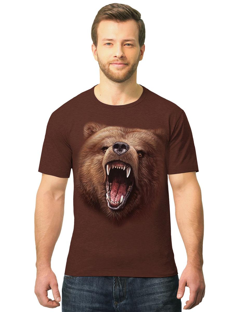 Футболка мужская MF Бурый медведь, цвет: коричневый. 2-89. Размер XL (52/54)2-89Стильная мужская футболка MF Бурый медведь выполнена из натурального хлопка. Модель с круглым вырезом горловины и короткими рукавами оформлена оригинальным принтом. Воротник дополнен мягкой эластичной бейкой.Яркий цвет модели позволяет создавать стильные образы.