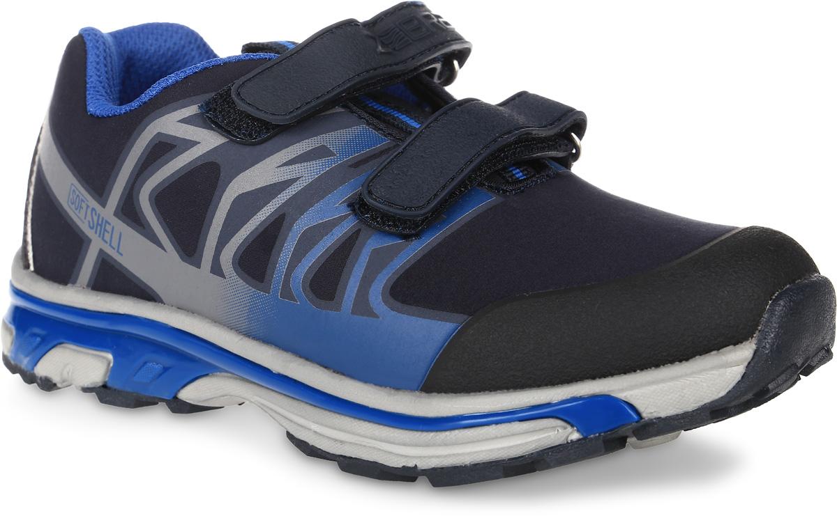 Кроссовки для мальчика Зебра, цвет: темно-синий. 10962-5. Размер 3010962-5Кроссовки Зебра выполнены из текстиля с технологией SoftShell, которая обеспечивает ветро-влагонепроницаемую защиту. Модель оформлена оригинальным принтом. На ноге модель фиксируется с помощью двух ремешков с застежками-липучками, один из которых оформлен тисненой надписью с названием бренда. Внутренняя поверхность выполнена из текстиля, комфортного при движении. Стелька выполнена из легкого ЭВА-материала с поверхностью из натуральной кожи и дополнена супинатором с перфорацией, который обеспечивает правильное положение ноги ребенка при ходьбе, предотвращает плоскостопие. Анатомическая стелька способствует правильному формированию скелета и анатомических сводов детской стопы, снижает общую усталость ног, уменьшает нагрузку на позвоночник, делает ходьбу ребенка легкой, приятной и комфортной. Подошва изготовлена из легкого филона. Поверхность подошвы дополнена рельефным рисунком.