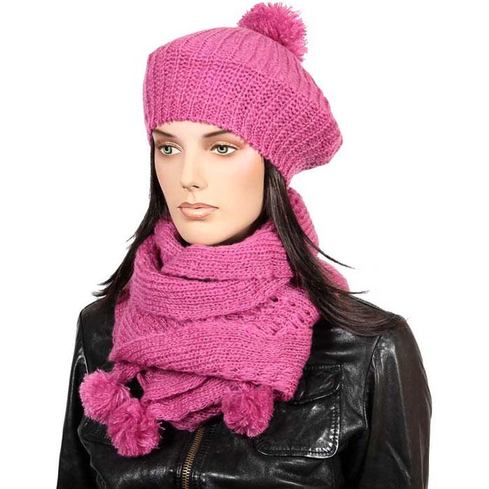 Комплект женский Sabellino, цвет: розовый. 95Ш_1А_106. Размер универсальный95Ш_1А_106Вязаный комплект выполнен из мохера с добавлением акрила, состоит из берета и шарфа. Шарф оформлен помпонами, мягко драпируется и красиво распределяется в области шеи. Берет декорирован помпоном.