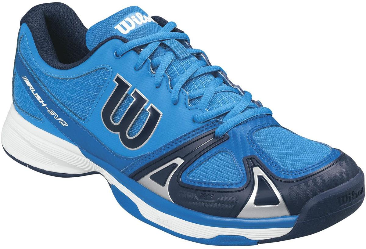 Кроссовки для тенниса мужские Wilson Rush Evo, цвет: голубой. WRS322240. Размер 12 (46)WRS322240Мужские кроссовки для тенниса Rush Evo от Wilson - это идеальный вариант для тех, кто ценит в обуви комфорт, поддержку и долговечность. Модель создана специально для любителей, которые хотят достичь заметных результатов в теннисе.Верх модели выполнен из искусственной кожи со вставками из дышащего текстиля и оформлен названием и логотипом бренда. Классическая шнуровка гарантирует удобство и надежно фиксирует модель на ноге. Технология 2D-F.S: полиуретановый штамп в носовой части обеспечивает повышенную устойчивость. Технология Dynamic Fit - DF2: высота средней части подошвы - 9 мм. Технология R-DST: вставка из химически активных веществ в пяточной части обеспечивает максимальную амортизацию. Съемная стелька EVA с внешней текстильной поверхностью обеспечивает комфорт. Резиновая рельефная подошва обеспечивает отличное сцепление с поверхностью.В таких кроссовках вашим ногам будет комфортно и уютно.