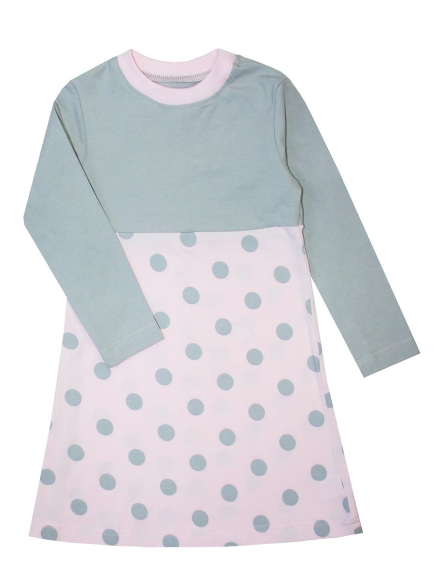 Платье для девочки КотМарКот Горох, цвет: розовый, серый. 21846. Размер 104, 4 года21846Платье для девочки КотМарКот Горох выполнено из натурального хлопка.Модель средней длины с длинными рукавами имеет круглый вырез горловины, отделанный эластичной бейкой. Пришивная юбка платья оформлена принтом в крупный горох.