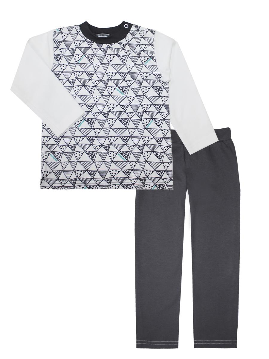 Пижама для мальчика КотМарКот Геометрия, цвет: белый, серый. 16873. Размер 9816873Пижама для мальчика КотМарКот Геометрия включает в себя лонгслив и брюки. Пижама изготовлена из натурального хлопка.Лонгслив с длинными рукавами и круглым вырезом горловины дополнен двумя кнопками на плече для удобства переодевания. Свободные брюки с широкой эластичной резинкой на поясе.