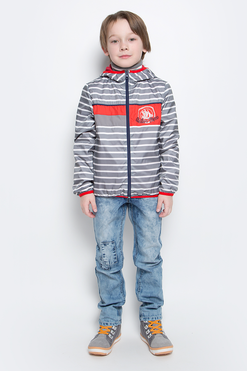 Куртка для мальчика Boom!, цвет: серый. 70029_BOB_вар.2. Размер 80, 1,5-2 года70029_BOB_вар.2Куртка для мальчика Boom! изготовлена из водонепроницаемого полиэстера. Куртка с капюшоном застегивается на пластиковую застежку-молнию. Края капюшона, рукавов и низа куртки отделаны тонкой эластичной резинкой. В боковых швах предусмотрены два прорезных кармана. Модель оформлена оригинальным принтом на груди и дополнена светоотражающими элементами.