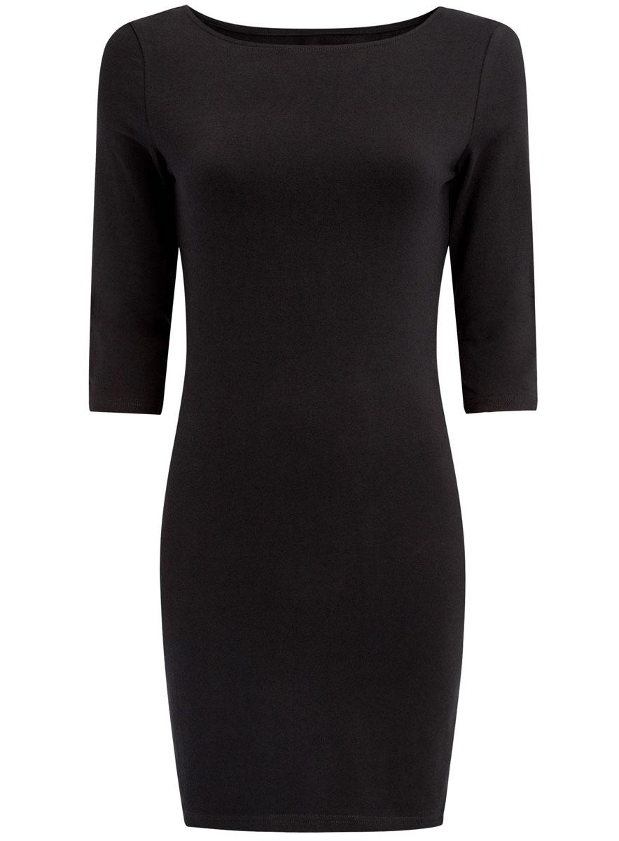Платье oodji Ultra, цвет: черный. 14001071-2B/46148/2900N. Размер XL (50)14001071-2B/46148/2900NСтильное платье oodji, выполненное из хлопка с добавлением эластана, отлично дополнит ваш гардероб. Модель длины мини с круглым вырезом горловины и рукавами 3/4.