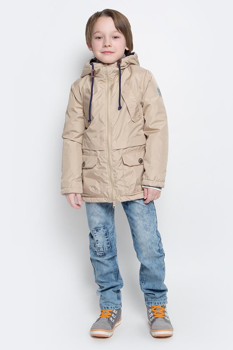 Парка для мальчика Boom!, цвет: бежевый. 70034_BOB_вар.1. Размер 104, 3-4 года70034_BOB_вар.1Модная куртка-парка Boom! идеально подойдет для вашего мальчика в прохладное время года. Модель изготовлена из 100% полиэстера. Подкладка, выполненная из полиэстера с добавлением вискозы и хлопка, приятная на ощупь. В качестве утеплителя используется синтепон - 100% полиэстер (100 г/м2). Куртка с капюшоном застегивается спереди на застежку-молнию. Капюшон дополнен затягивающимся шнурком. Изделие дополнено спереди двумя накладными карманами с клапанами на застежках-липучках и двумя нашитыми клапанами с имитацией под карманы. Манжеты рукавов дополнены застежками-кнопками. Нижняя часть спинки оформлена фирменной светоотражающей нашивкой, один из рукавов - нашивкой с названием бренда. Такая стильная парка станет прекрасным дополнением к гардеробу вашего ребенка, она подарит комфорт и тепло.