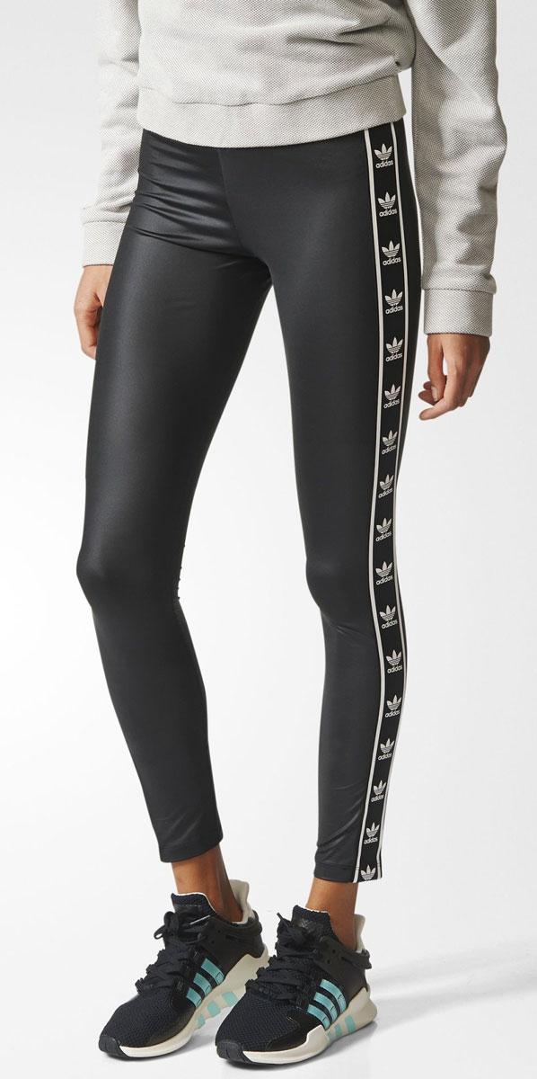 Леггинсы женские adidas Leggings, цвет: черный. BJ8360. Размер 40 (46/48)BJ8360Леггинсы женские adidas Leggings выполнены из полиэстера и эластана. Модель с эластичным поясом оформлена логотипами бренда.