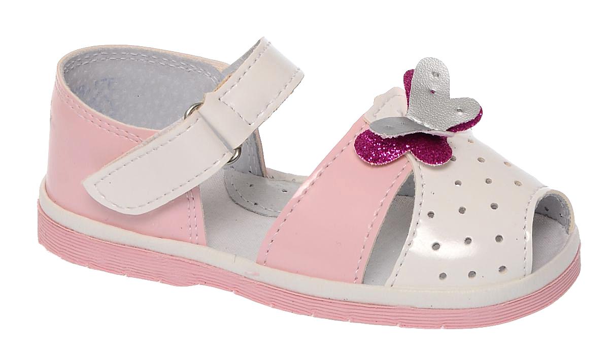Сандалии для девочки Римал, цвет: белый, розовый. 1742. Размер 211742Сандалии для девочки Римал выполнены из качественной искусственной кожи. Ремешок с липучкой обеспечит оптимальную посадку модели на ноге. Кожаная стелька с супинатором придаст максимальный комфорт при движении. Носки сандалий оформлены декоративным элементом в виде бабочки.
