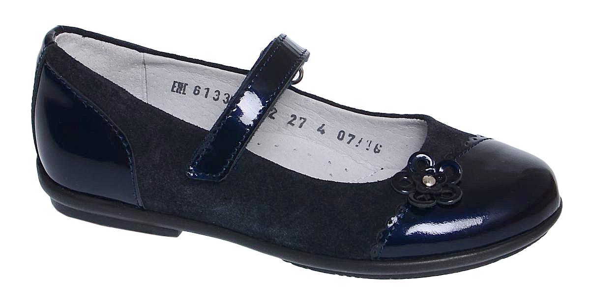 Туфли для девочки Elegami, цвет: темно-синий. 6-613301702. Размер 306-613301702Модные туфли от Elegami придутся по душе вашей юной моднице! Модель выполнена из натуральной лаковой кожи и велюра. Мысок декорирован аппликацией в виде цветка. Ремешок на застежке-липучке гарантирует надежную фиксацию обуви на ноге. Стелька с супинатором, выполненная из натуральной кожи, обеспечивает правильное положение ноги ребенка при ходьбе, предотвращает плоскостопие. Подошва выполнена из легкого и прочного ТЭП-материала. Рифленая поверхность каблука и подошвы защищает изделие от скольжения. Удобные туфли займут достойное место в гардеробе вашей девочки.