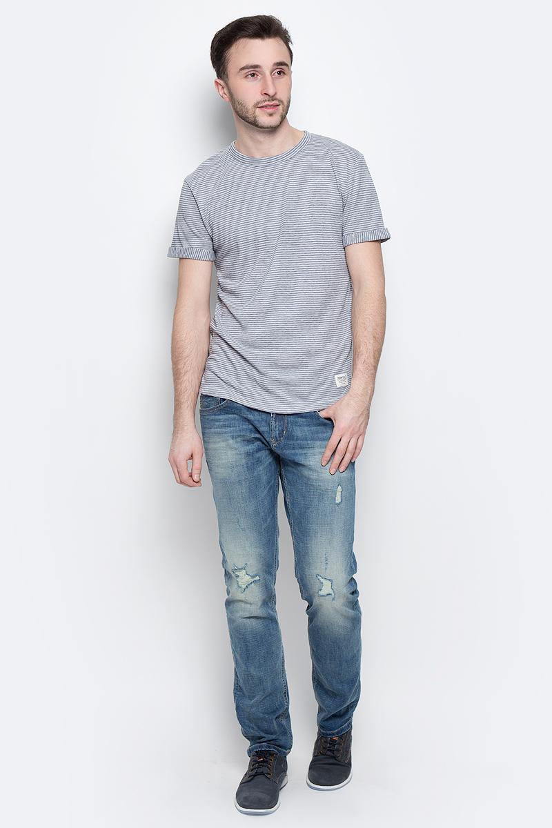 Футболка мужская Tom Tailor Denim, цвет: синий. 1037078.00.12_6740. Размер M (48)1037078.00.12_6740Стильная мужская футболка Tom Tailor Denim из хлопка и полиэстера. Модель с круглым вырезом горловины и короткими рукавами с отворотами. Футболка оформлена принтом в полоску.