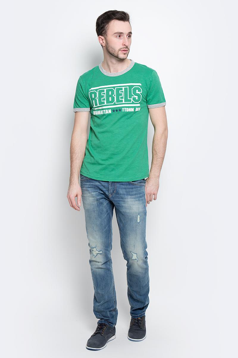 Футболка мужская Tom Tailor Denim, цвет: зеленый. 1037075.00.12_7772. Размер M (48)1037075.00.12_7772Стильная мужская футболка Tom Tailor Denim выполнена из натурального хлопка. Модель прямого кроя с круглым вырезом горловины и короткими рукавами оформлена оригинальным принтом. Вырез горловины и манжеты на рукавах дополнены трикотажной бейкой. Уважаемые клиенты! Обращаем ваше внимание, состав материала может незначительно отличаться от указанного.