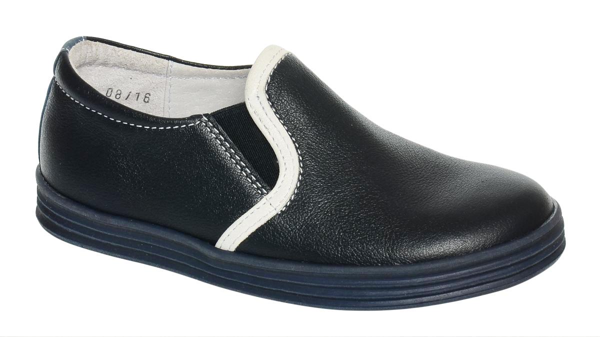 Слипоны для мальчика Elegami, цвет: темно-синий. 6-613261704. Размер 276-613261704Стильные слипоны от Elegami придутся по душе вашему юному моднику. Модель выполнена из натуральной кожи с контрастной отделкой и прострочкой. Резинки, расположенные на подъеме, отвечают за комфортную посадку модели на ноге. Подкладка и стелька из натуральной кожи обеспечивают комфорт при носке. Гибкая мягкая подошва из ТЭП-материала с оригинальным рифленым рисунком обеспечивает идеальное сцепление с разными поверхностями. Ультрамодные слипоны займут достойное место в гардеробе вашего ребенка.