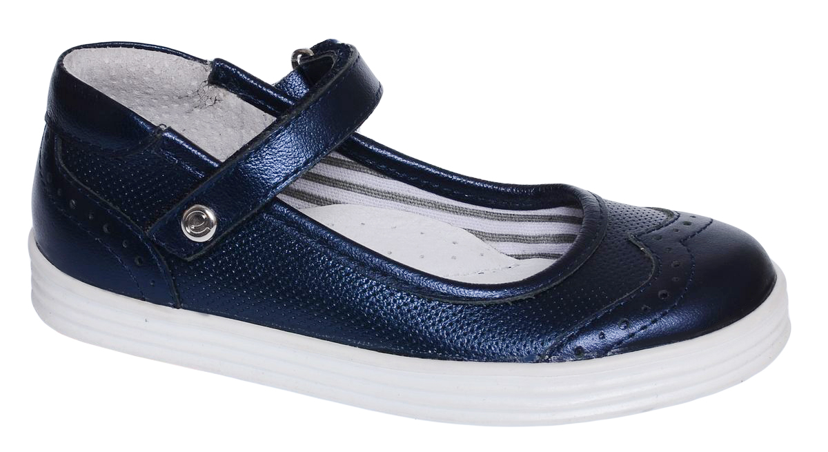 Туфли для девочки Elegami, цвет: темно-синий. 6-613251704. Размер 296-613251704Яркие туфли от Elegami придутся по душе вашей юной моднице! Модель выполнена из натуральной кожи с эффектом металлик и оформлена декоративной перфорацией. Мысок декорирован фигурной прострочкой с перфорацией. Ремешок на застежке-липучке гарантирует надежную фиксацию обуви на ноге. Стелька с супинатором, выполненная из натуральной кожи, обеспечивает правильное положение ноги ребенка при ходьбе, предотвращает плоскостопие. Сплошная подошва выполнена из легкого и прочного ТЭП-материала контрастного цвета. Рифленая поверхность подошвы защищает изделие от скольжения. Удобные туфли займут достойное место в гардеробе вашей девочки.