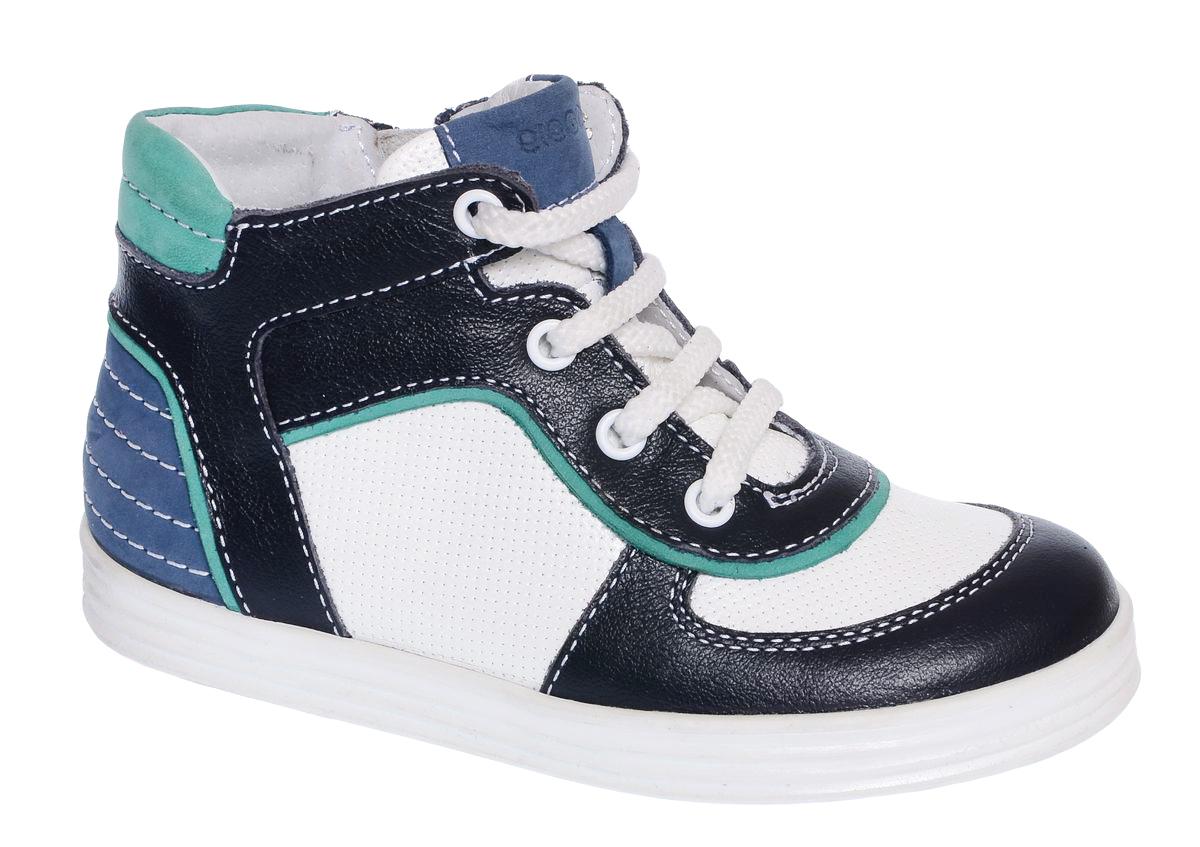 Ботинки для мальчика Elegami, цвет: темно-синий, белый. 6-612781703. Размер 296-612781703Модные детские ботинки от Elegami выполнены из натуральной кожи с перфорацией и оформлены контрастной прострочкой. Внутренняя поверхность и стелька, выполненные из натуральной кожи, предотвращают натирание и гарантируют комфорт. Подъем дополнен классической шнуровкой, которая обеспечивает плотное прилегание модели к стопе и регулирует объем. Ботинки застегиваются на застежку-молнию, расположенную на одной из боковых сторон. Подошва оснащена рифлением для лучшей сцепки с поверхностью. Стильные ботинки - незаменимая вещь в гардеробе вашего ребенка.