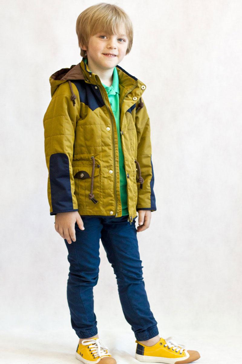 Куртка для мальчика OLDOS Диамир, цвет: горчичиный, темно-синий. 2К1705-2. Размер 128, 8 лет2К1705-2Стильная весенняя стеганая куртка Oldos Диамир приведет вашего модника в восторг! Модель выполнена из полиэстера и застегивается на застежку-молнию и дополнительно на ветрозащитный клапан на кнопках. Благодаря утеплителю плотностью 100 г/м2 куртку можно носить при температуре +10…-5 градусов. Водо- и грязеотталкивающие пропитки защитят от весенней непогоды, а хлопковая подкладка добавит комфорт и уют. Воротник-стойка защитит шею, капюшон съемный с регулировкой объема, так же предусмотрена кулиска по талии. В куртке есть карманы для всяких мелочей с клапанами на кнопках.