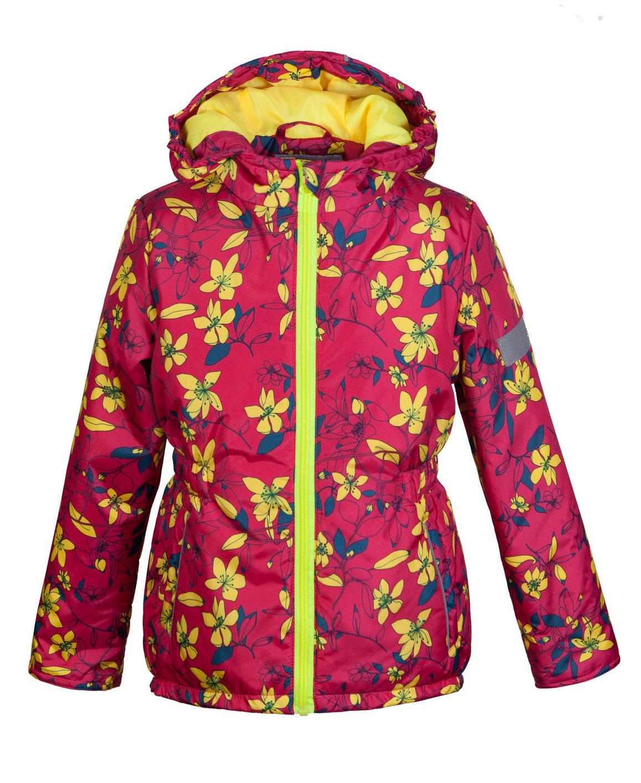 Куртка для девочки Jicco Альма, цвет: малиновый, желтый. 2К1716. Размер 92, 2 года2К1716Легкая и удобная весенняя куртка Jicco Альма прекрасно подойдет для юных модниц. Благодаря утеплителю плотностью 100 г/м2 куртку можно носить при температуре от +10°С до -5°С. Она прекрасно защитит от ветра и весеннего дождя. Куртка имеет все самое необходимое для комфортной носки. Модель застегивается на молнию. Внутренняя ветрозащитная планка снабжена защитой подбородка от прищемления. Капюшон несъемный, для лучшего прилегания по краям вшита резинка. Манжеты рукавов присборены на резинку. По талии вшита резинка для лучшего прилегания. Также есть светоотражающие элементы и два прорезных открытых кармана. Модель оформлена ярким цветочным рисунком.