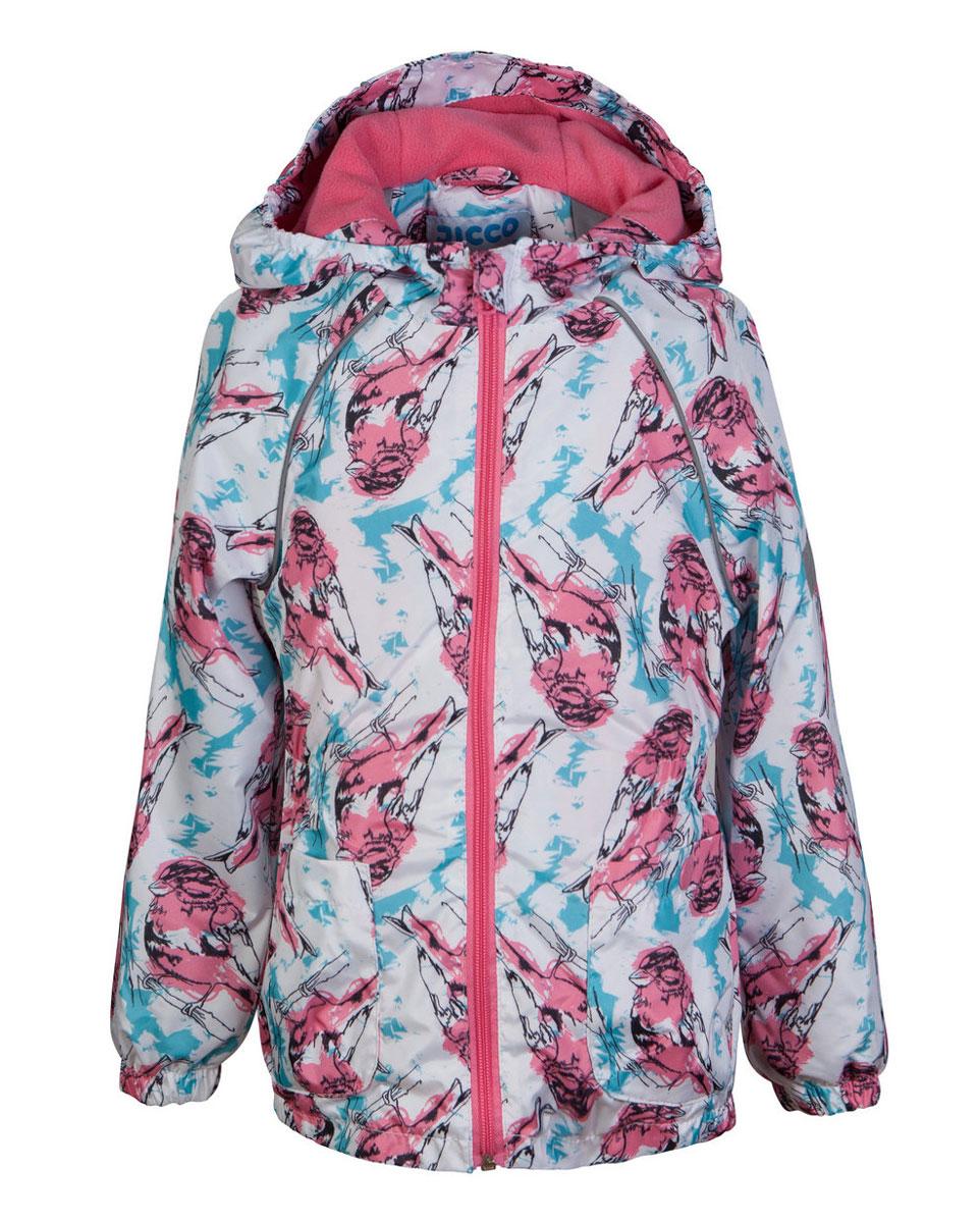 Ветровка для девочки Jicco Леся, цвет: белый, розовый. 3К1715. Размер 128, 8 лет3К1715Легкая весенняя ветровка от Jicco By Oldos из принтованной ткани станет украшением весеннего гардероба. Такая курточка идеально подойдет на ветреную погоду с температурой +10…+20°С, она защитит от легкого весеннего дождя и переменчивого ветра. Модель имеет флисовую подкладку на груди, спинке и в капюшоне. Внутренняя ветрозащитная планка снабжена защитой подбородка от прищемления. Капюшон не отстегивается, для лучшего прилегания по краю вшита резинка. Манжеты рукавов на резинке, талия и низ куртки также присборены на резинку. Ветровка оснащена светоотражающими элементами и двумя прорезными карманами на кнопке.