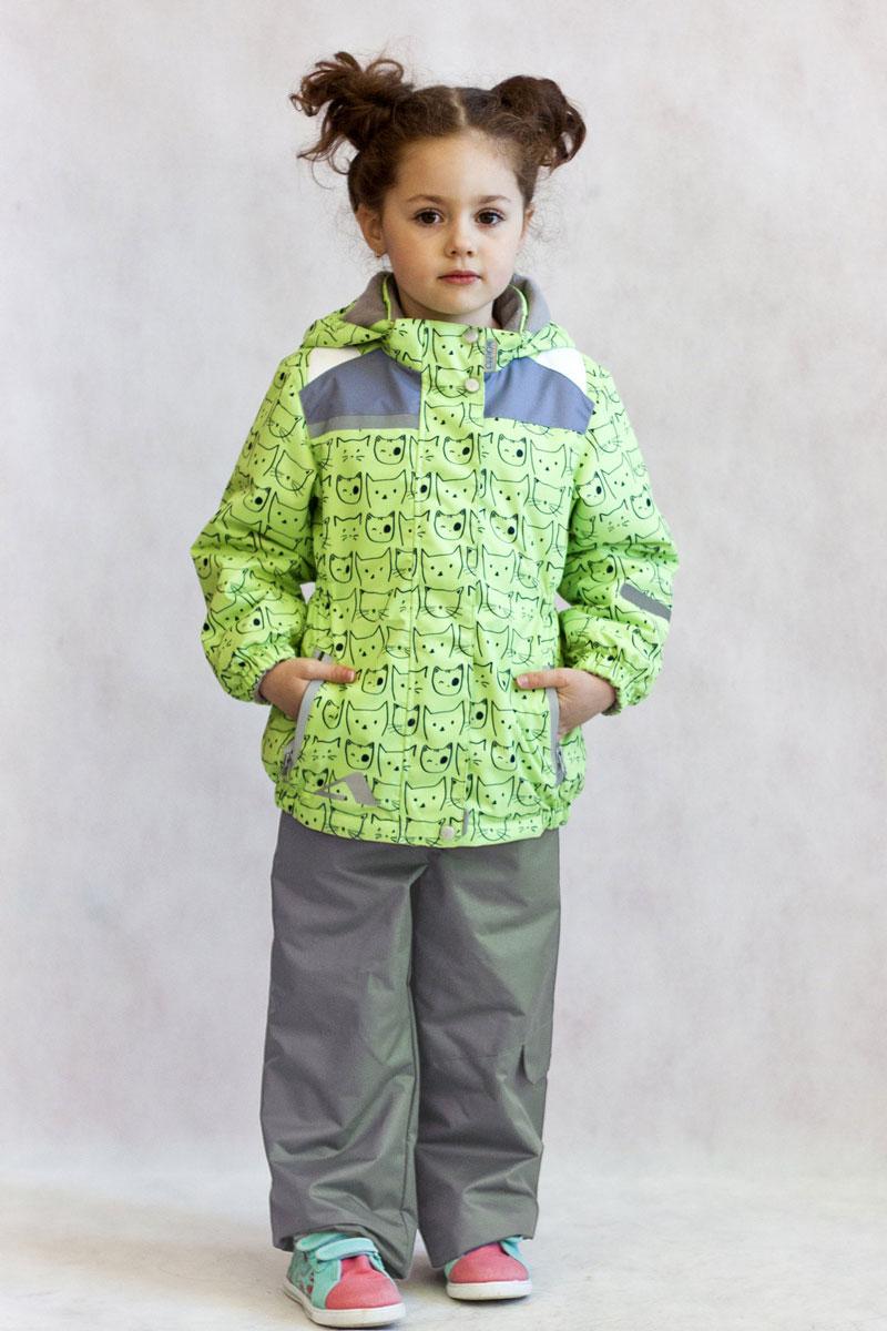 Комплект одежды для девочки OLDOS ACTIVE Кошка: куртка, брюки, цвет: салатовый, серый. 17/OA-2SU510. Размер 86, 1,5 года17/OA-2SU510Красивый и технологичный весенне-осенний костюм в ярких неоновых цветах из мембранной коллекции Oldos Active состоит из куртки и брюк. Верхняя ткань с мембраной 3000/3000 обеспечивает водонепроницаемость, при этом одежда дышит. Покрытие TEFLON повышает износостойкость, а также облегчает уход за костюмом. Костюм рассчитан на температуру от +10°С до -5°С, благодаря утеплителю в куртке Hollofan PRO 100 г/м2 и флисовой подкладке в куртке и брюках. Функционал куртки продуман до мелочей: воротник-стойка с мягким флисом, двойная ветрозащитная планка (внешняя застегивается на кнопки и липучки, внутренняя - с защитой подбородка), съемный капюшон с резинкой для лучшего прилегания, манжеты на резинке, прорезные карманы на молнии, внутренний кармашек с нашивкой-потеряшкой, по низу куртки и по талии вшита резинка для лучшего прилегания. Брюки без утеплителя с флисовой подкладкой застегиваются на кнопку в поясе и застежку-молнию. Брюки также очень удобны: резинка по талии, объем в талии регулируется, широкие эластичные регулируемые подтяжки легко отстегиваются при необходимости, карманы на молнии, ветрозащитная муфта с антискользящей резинкой, усиления по низу брюк в местах особого износа. Есть светоотражающие элементы для безопасных прогулок в темное время суток.