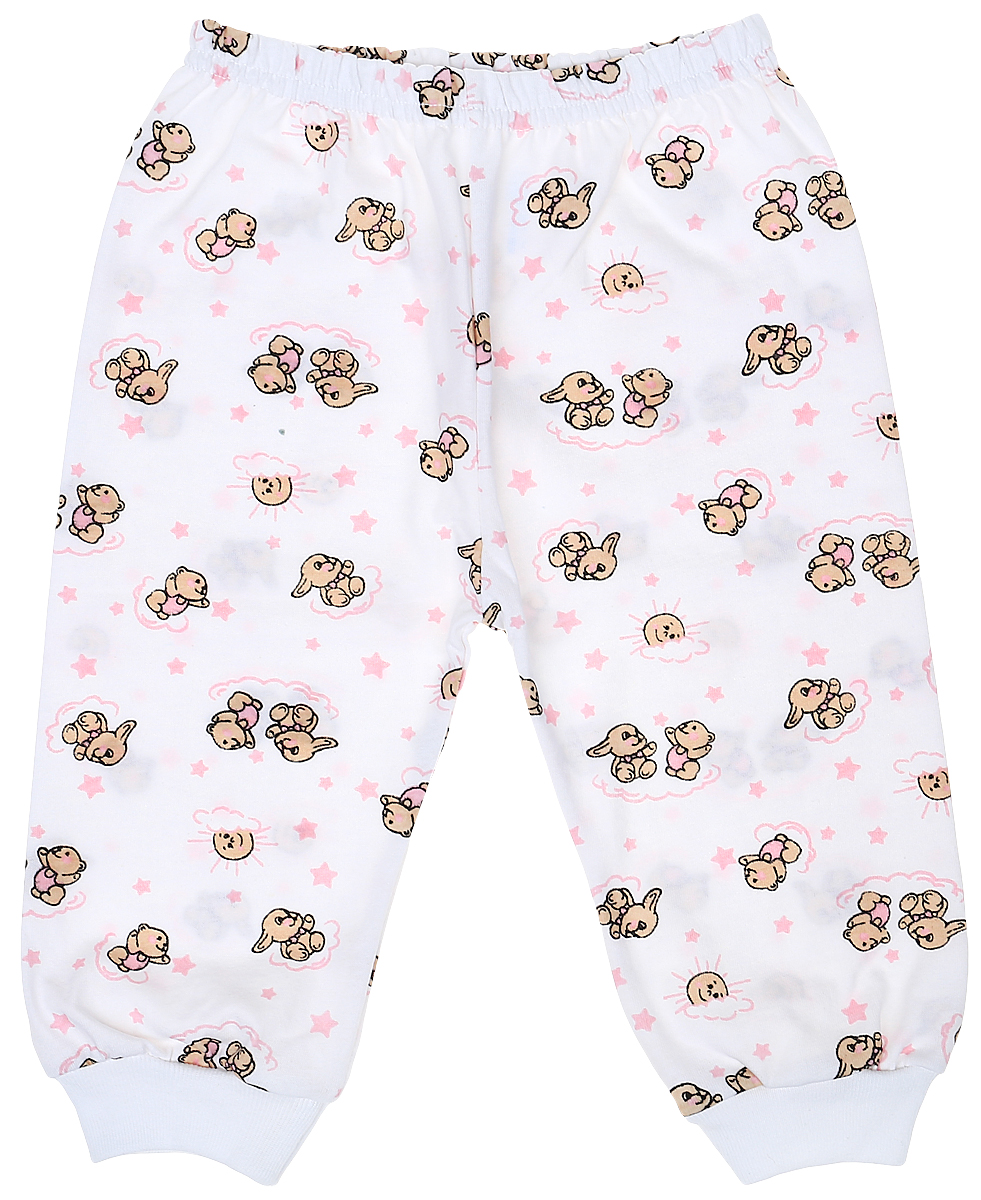 Штанишки детские Чудесные одежки, цвет: белый, розовый. 5305. Размер 625305Детские штанишки Чудесные одежки выполнены из натурального хлопка, благодаря чему великолепно пропускают воздух и обеспечивают комфорт и удобство, не раздражая нежную детскую кожу. Модель стандартной посадки дополнена эластичной резинкой на талии. Брючины оснащены широкими трикотажными манжетами по низу. Модель украшена принтом с изображением зайчиков и медвежат.