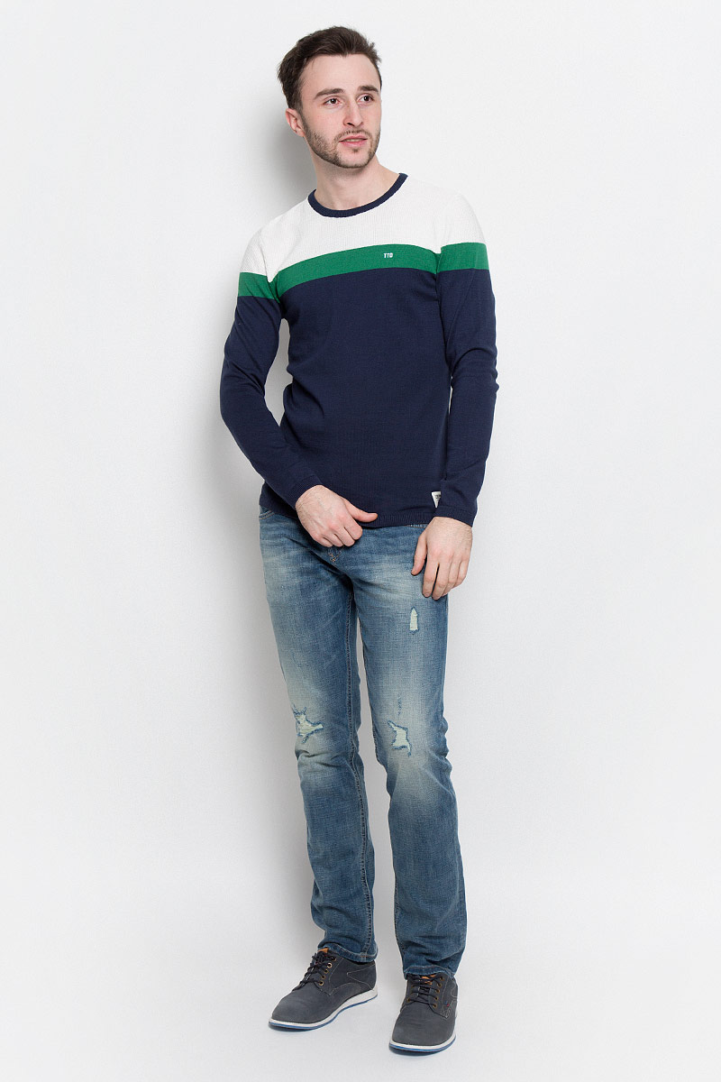 Джемпер мужской Tom Tailor Denim, цвет: темно-синий, белый, зеленый. 3022489.02.12_6740. Размер S (46)3022489.02.12_6740Мужской джемпер Tom Tailor Denim с круглым вырезом горловины и длинными рукавами изготовлен из высококачественной хлопковой пряжи.Горловина, низ и манжеты рукавов джемпера связаны резинкой. Модель оформлена широкими контрастными полосками сверху.