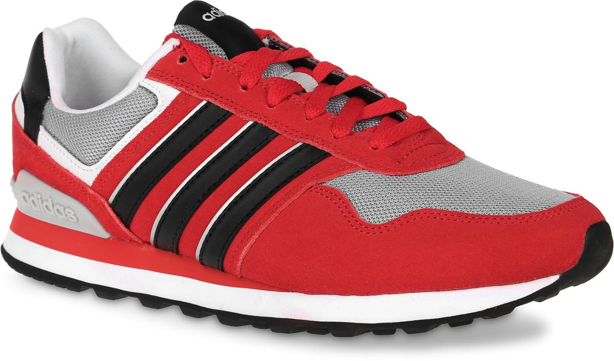 Кроссовки мужские adidas Neo 10K, цвет: красный, серый, черный. AW3849. Размер 10,5 (44)AW3849Мужские кроссовки adidas Neo 10K выполнены из натурального замши, искусственной кожи и текстиля. Модель оформлена фирменными нашивками. Шнурки надежно зафиксируют модель на ноге. Внутренняя поверхность из мягкого текстиля комфортна при движении. Стелька выполнена из легкого ЭВА-материала с поверхностью из текстиля. Подошва изготовлена из высококачественной резины и дополнена протектором.