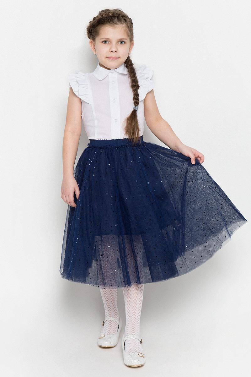 Юбка для девочки PlayToday, цвет: темно-синий. 462029. Размер 98462029Пышная юбка-пачка для девочки выполнена из легкого сетчатого материала. Хлопковая подкладка и пояс на мягкой резинке обеспечивают максимальное удобство. Модель оформлена россыпью сверкающих пайеток.
