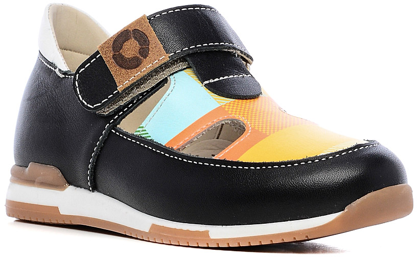 Туфли детские TapiBoo, цвет: черный, мультиколор. FT-25003.16-OL01O.01. Размер 25FT-25003.16-OL01O.01Стильные туфли от TapiBoo придутся по душе вашему ребенку. Модель, выполненная из натуральной кожи, оформлена контрастной прострочкой и на ремешке фирменной нашивкой. Внутренняя поверхность из натуральной кожи гарантирует комфорт при движении. Анатомическая стелька со сводоподдерживающим элементом для правильного формирования стопы. Жесткий фиксирующий задник с удлиненным «крылом», надежно стабилизирует голеностопный сустав во время ходьбы. Ремешок - липучка, обеспечивает необходимую фиксацию голеностопа в правильном положении. Упругая подошва, имеющая перекат, позволяет повторять естественное движение стопы при ходьбе. Отсутствие швов на подкладке обеспечивает дополнительный комфорт и предотвращает натирание. Ортопедический каблук Томаса укрепляет подошву под средней частью стопы и препятствует ее заваливанию внутрь. Рельефный рисунок подошвы обеспечивает сцепление с любыми поверхностями. Такие туфли станут незаменимыми в гардеробе вашего ребенка.