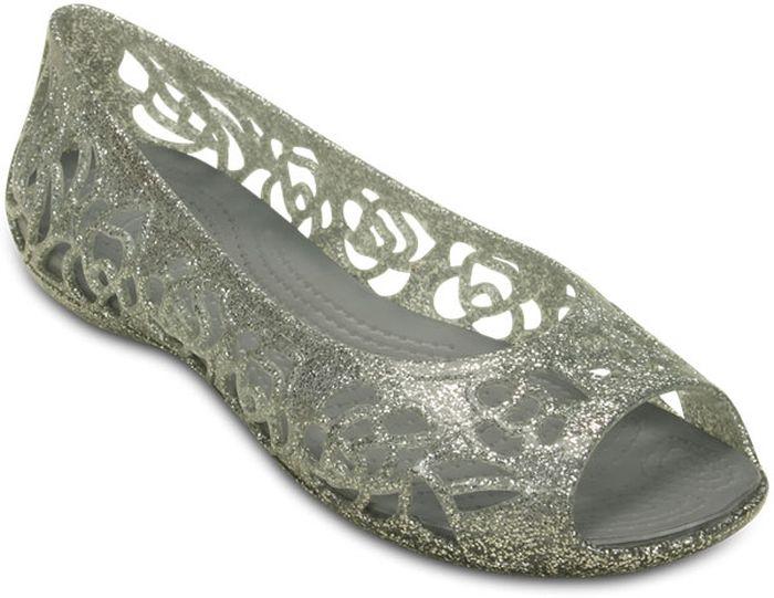 Балетки для девочки Crocs, цвет: серебряный. 202603-040. Размер J1 (31/32)202603-040Балетки Crocs выполнены из мягкой резины с декоративной перфорацией. Подошва из запатентованного материала Croslite.
